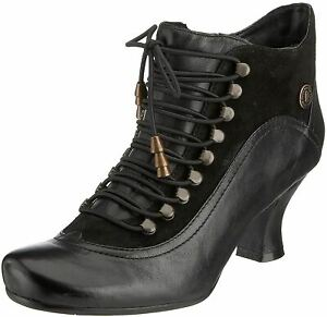 Hush Puppies Vivianna Black Leather Womens Ankle Boots