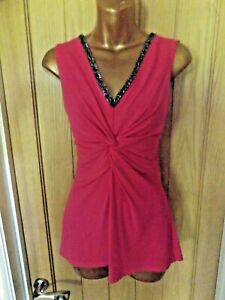 Gorgeous stretchy pink beaded summer evening Long Tall Sally top size 12-14