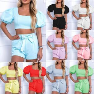 Women's Puff Sleeve Cropped Top Shorts Set Ladies Loungewear Tracksuit Co ord