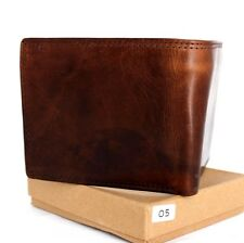 Men's Full Leather wallet 6 card slots 2 id windows 3 Bill Compartments Bifold