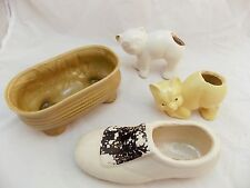 Lot of 4 Small Ceramic Planters 2 Cats Yellow & White & Shoe Fleur De Lis