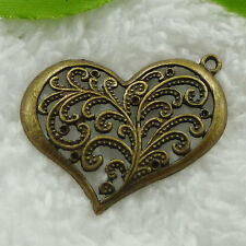 Free Ship 88 pieces bronze plated heart pendant 37x32mm #853