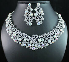 SEA WAVE AB WHITE AUSTRIAN RHINESTONE CRYSTAL NECKLACE EARRINGS SET BRIDAL N1693
