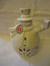 """Christmas Winter Delton 9""""  White Porcelain LED Lighted Round Full Body Snowman"""