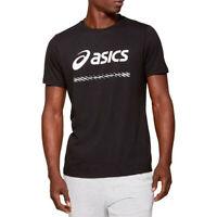 Asics Mens City T Shirt Tee Top Black Sports Running Gym Breathable Lightweight