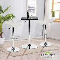 Set of 2 Bar Stools Leather Adjustable Swivel Modern Kitchen Dining Bar Chairs