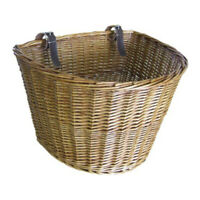 Retro, Handmade, Wicker Bicycle Front Basket with Leather Straps B8F2