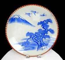 "JAPANESE POTTERY SIGNED BLUE WHITE BONSAI & CRANES PIE CRUST RIM 12"" PLATTER"