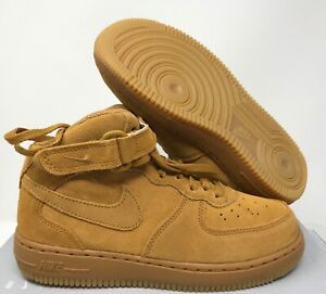 NIKE AIR FORCE 1 MID LV8 (PS) WHEAT-GUM LIGHT BROWN SZ 2Y [859337-701]