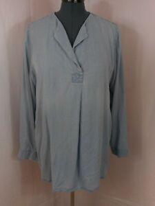 J.Jill Chambray Blue Long Sleeve Open Neck Peasant Tunic Blouse Size XL Tall
