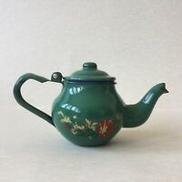 Vintage Green Enamel Small Teapot Floral Decoration Hinged Lid