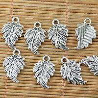 20pcs tibetan silver tone textured leaf design charms EF1487