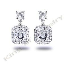 3.10 Ct. Asscher Cut Diamond Dangling Stud Earrings Square halo Diamond Earring