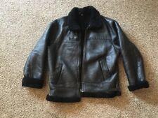 XXL Black Leather Shearling Bomber Jacket
