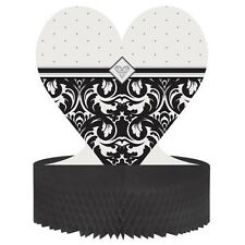 EVER AFTER BLACK & WHITE DAMASK TABLE CENTREPIECE WEDDING ENGAGEMENT HONEYCOMB