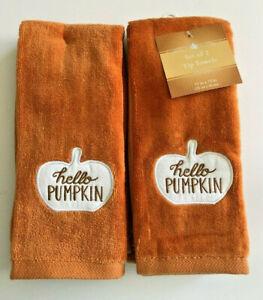 Thanksgiving Fingertip Towels Hello Pumpkin Embroidered Set of 2 Guest Applique