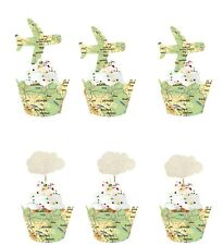24Sets White Clouds Airplane Cupcake Toppers Map Wrappers Travel Party Supplies