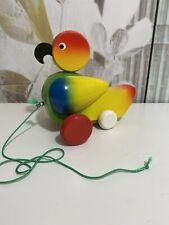 Nachziehtier Ente - Holz  -  Kopf und Flügel beweglich - Vintage - Shabby Chic