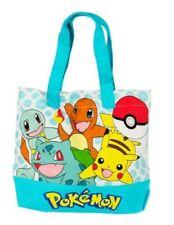 Pokemon Girls' Canvas Tote Bag w/Pokemon Ball Keychain - Blue Pikachu & Friends