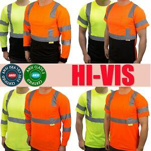 Hi Vis ANSI Class 3 Work Safety Long Sleeve T Shirt High Visibility Reflective