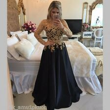 Long Sleeve Evening Dresses Pageant Gold Appliqued Formal Long Party Prom Gowns