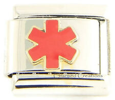 Red Medical Alert Star Of Life Link For 9mm Italian Charm ID Bracelets