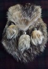 Men's Full Dress Highland Kilt Sporran Fox Fur Scottish Leather Sporrans Chain