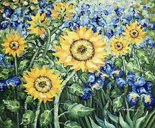Golden Sunflower Blue Iris Garden Van Gogh Repro 24X20 Oil On Canvas Painting