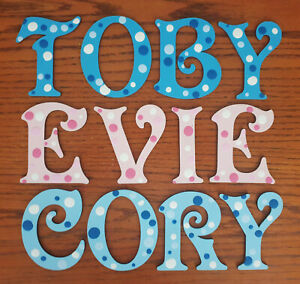 *ANY NAME & ANY COLOURS* Painted Wooden Letters for a Door, Wall Or Toy Box #1