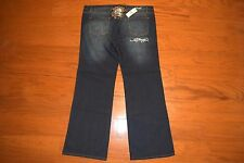 "NWT Ed Hardy ""SKULL"" BOOT Cut STRETCH Blue Jeans - Women Size 21/22 - MRRP = $92"