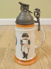 German Beer Stein With Cannon and Lion Lid Napoleon Bonaparte Emperor of France