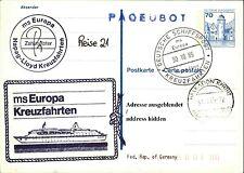 Schiffspost Stempel Schiff MS EUROPA Hapag-Lloyd Rundstempel Kreuzfahrten 1985