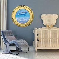 Porthole Ship Window Sea Ocean View SHARK #1 BRASS Wall Sticker Decal Graphic