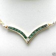 "Vintage 14k Green Emerald & Diamond ""V"" Channel set Necklace yellow gold"