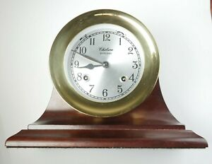 CHELSEA SHIPSTRIKE 4.5'' Mechanical Manual Winding Clock in Brass with Wood Base