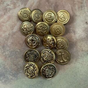 15 Antique Vintage Sewing Buttons Metal Coat Shield Criwn Gold Tone Military Lot