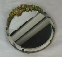 ANTIQUE / VINTAGE SMALL MIRROR HAND CARVED WOOD SURROUND (DATED 1915)
