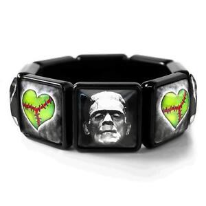 Frankenstein & Bride Broken Heart Horror Halloween Black Bangle Charm Bracelet
