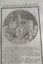 Cocarde Nationale 1789 La Fayette Rare Gravure 18ème Journal Révolution de Paris