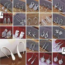Trendy 925 Sterling Silver Plated Crystal Drop/Dangle Silver Hoop Earrings