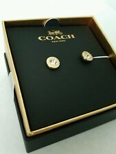 New (in Box) Authentic Coach Stud Gold Color & Crystal gem earrings Retails: $65