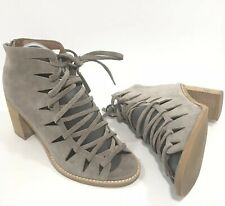 Jeffrey Campbell Corwin Booties 9.5 Lace-Up Taupe Leather Suede Stacked Heel
