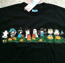 peanuts gang halloween t shirt ss 7 characterspumpkin patch black mens large