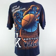 VTG 1998 UK KENTUCKY WILDCATS NATIONAL CHAMPIONS ALL OVER PRINT BLUE T SHIRT XL