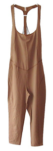 Free People Movement Size S Tan Nirvana Now One-Piece Athletic Stretch Jumpsuit