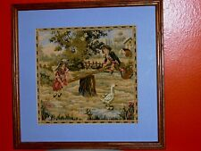 FRENCH ROYAL Antique Tapestry Victorian Boy Girl Swing Stream Goose Houses Trees