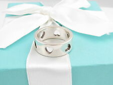 TIFFANY & CO SILVER HEART CUTOUT STENCIL RING BAND SIZE 8 BOX INCLUDED