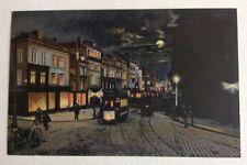 CPA. AMIENS. 80 - 4. Place Saint Denis. LL. Nuit. Lune. Lumières. Tramway. Rue.