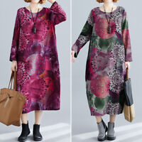 Vintage Femme Col Rond Manche Longue Imprimé Floral Poche Droit Jupe Robe Plus