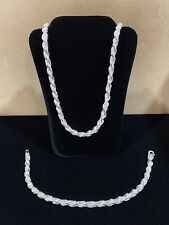 "925 Sterling Silver Men's Twisted Rope Chain Necklace 24"" & Bracelet 8"" SET"